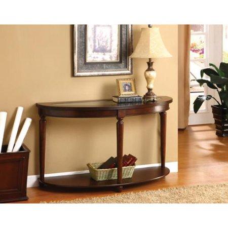 Furniture of america crescent glass top console sofa for Furniture of america sofa table