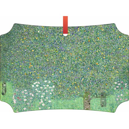 Artist Gustav Klimt Under the Rose Bushes Painting - TM Double-Sided Flat Berlin-Shaped Holiday Tree Ornament Made in the USA