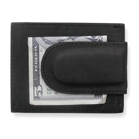Icecarats Black Leather Credit Card Slots Front Pocket Wallet  Man Hbag Tote Key Ring Money Clip