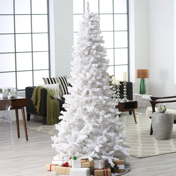 White Pre-Lit 7FT Artificial Christmas Pine Tree with LED Color Changing Lights & Solid Metal Stand, Full Tree