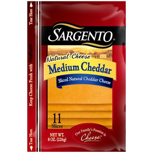 Sargento Medium Cheddar Sliced Natural Cheese, 11 count, 8 oz