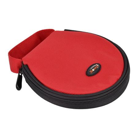 Accueil voiture en transporter en nylon Fermeture à glissière stockage à main ronde porte-CD Cas Sac Rouge 20 disques - image 4 de 4