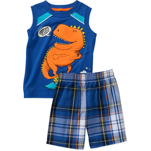 Healthtex Baby Boys' 2 Piece Graphic Muscle Tee and Plaid Short Set
