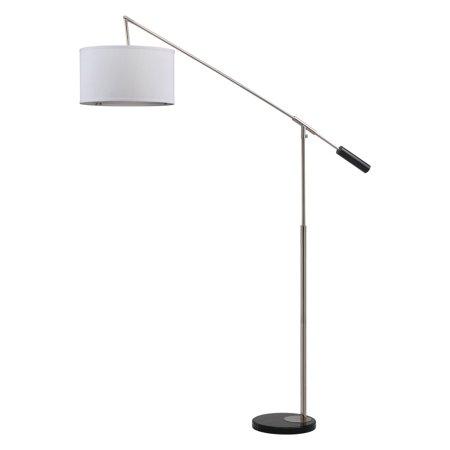 Balance Collection - Safavieh Carina Balance Floor Lamp with CFL Bulb, Shine Nickel with Off-White Shade