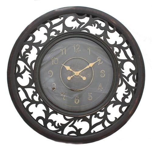 EC World Imports Oversized 36'' Antique Vine Leaf Wooden Wall Clock by ecWorld Enterprises