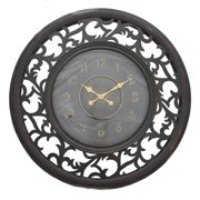 EC World Imports Oversized Antique Vine Leaf Wooden 36'' Wall Clock