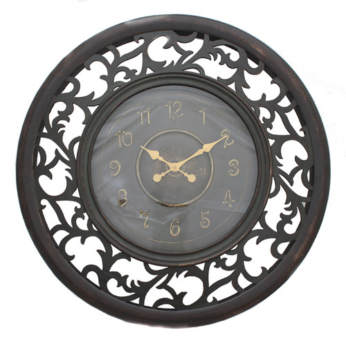 EC World Imports Oversized 36'' Antique Vine Leaf Wooden Wall Clock