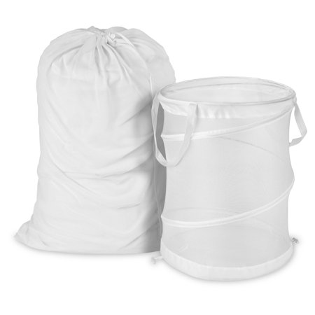 Honey Can Do Breathable Mesh Laundry Bag and Hamper Kit, White Compact Laundry Stacking Kit