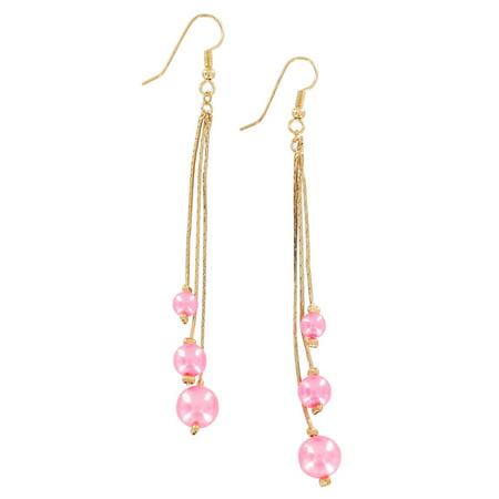 Pink Faux Pearl Beaded Gold Tone Chain Dangle Chandelier Pierced Earrings 3 7/8