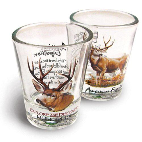 American Expedition Set of 2 Shot Glasses (Mule Deer)