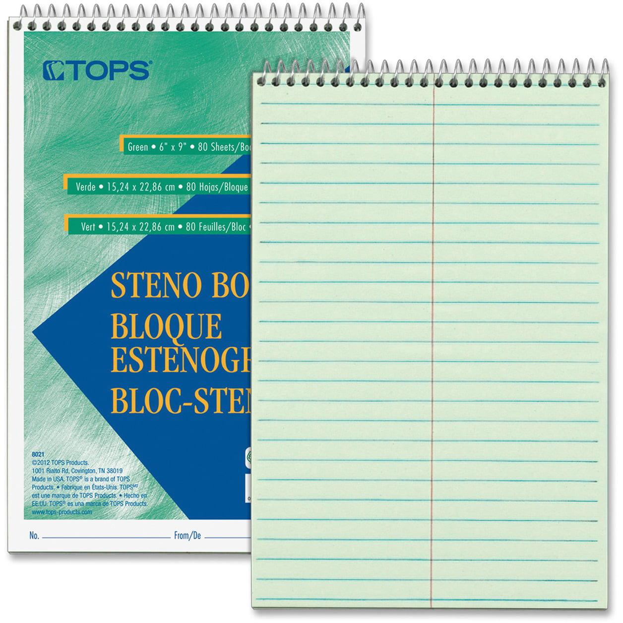 "TOPS Steno Book, Gregg Rule, 80Sheets/PD, 6""X9"", 12/PK, GN Tint - TOP8021DZ"