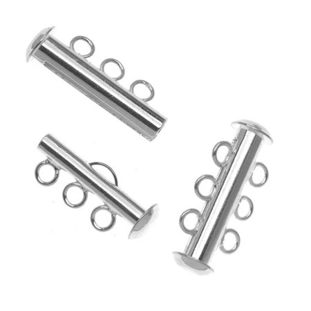 Silver Plated Tube Clasp 22mm Three Rings Strands (2)