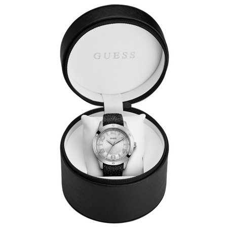U0751L1 Women's Black Shiny Leather Band With Silver Analog Dial Watch NWT ()