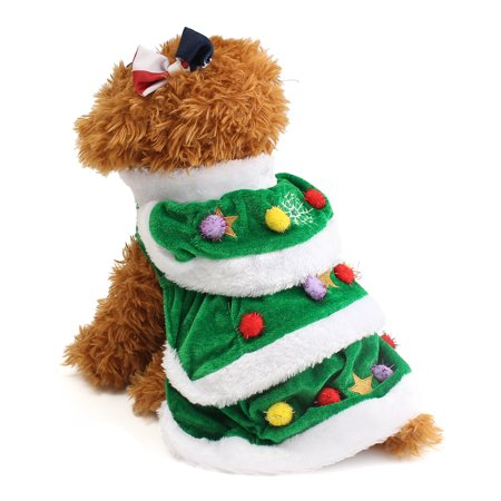 Christmas Tree Pet Dog Cat Coat Halloween Puppy Dog Clothes Cat Costumes Apparel,M 300mm Green - Christmas Pet Costumes