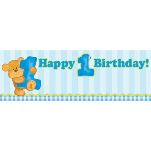Bear's 1st Birthday Boy Banner (1ct)