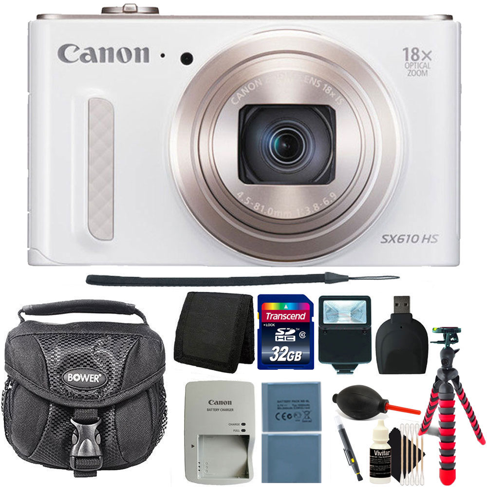 Canon PowerShot SX610 HS 20.2MP Digital Camera White + 32...