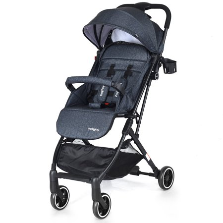 Babyjoy Foldable Baby Stroller Lightweight Kids Carriage Pushchair W/ Foot Cover Ink ()
