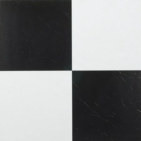 Achim Nexus Black & White 12x12 Self Adhesive Vinyl Floor Tile - 20 Tiles/20 sq.