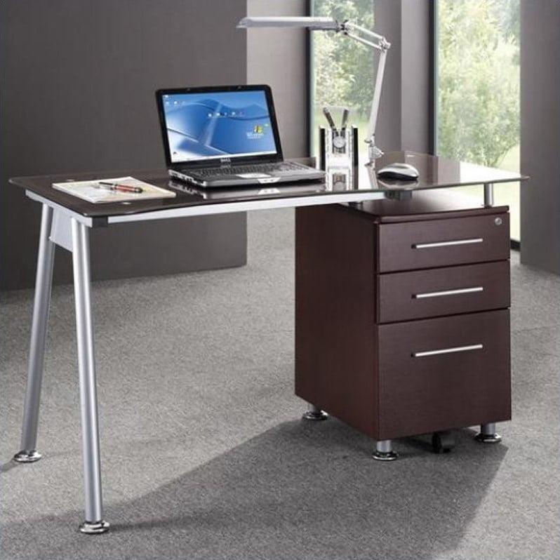 Techni Mobili Tempered Glass Top Computer Desk in Chocolate