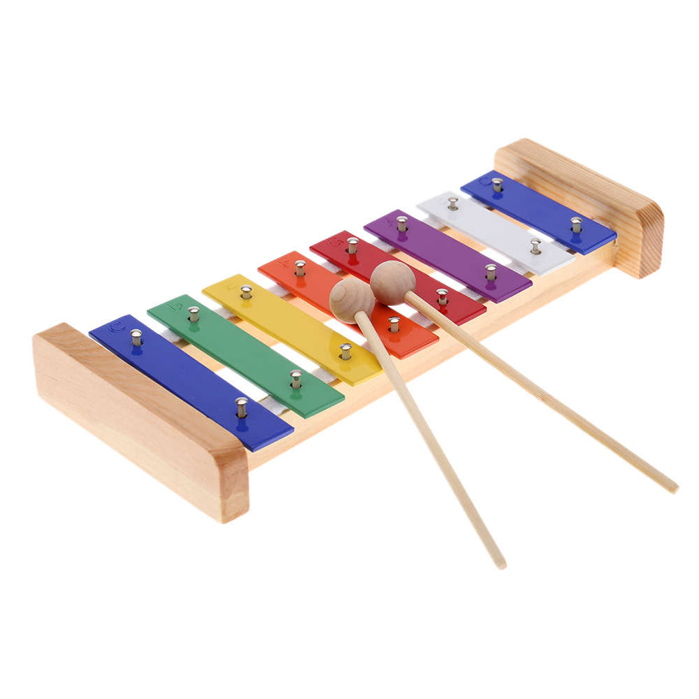 KKmoon Xylophone 8-Note 3mm Colorful Aluminum Plate C Key Percussion Toddle by