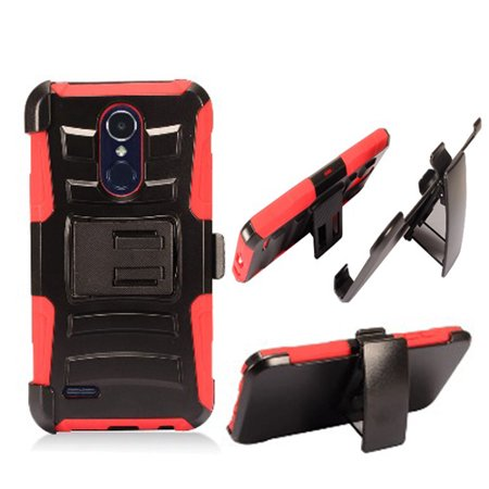 phone case for verizon lg zone 4 / lg aristo-2 x210 / lg tribute dynasty ( boost mobile) sp-200 combo holster belt clip with rugged cover kickstand (holster-red edge case) (Boost Mobile Phones Case Lg Realm)
