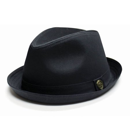City Hunter Pmt111 Cotton Plain Roll-up with Self Band Fedora (Black-S/m - Black Fedora With White Band