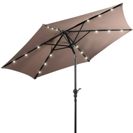 Costway 9ft Patio Solar Umbrella LED Patio Market Steel Tilt w/ Crank Outdoor (Tan) ()