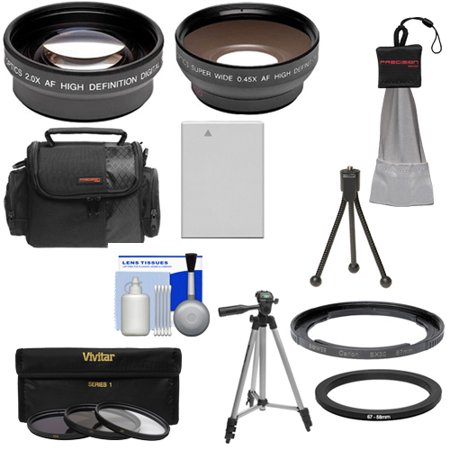 Bower FA-DC67A Ring Adapter Tube for Canon PowerShot SX60 HS Digital Camera (67mm) with .45x Wide Angle & 2x Telephoto Lenses + 3 UV/CPL/ND8 Filters + NB-10L Battery + Tripod + Case Kit