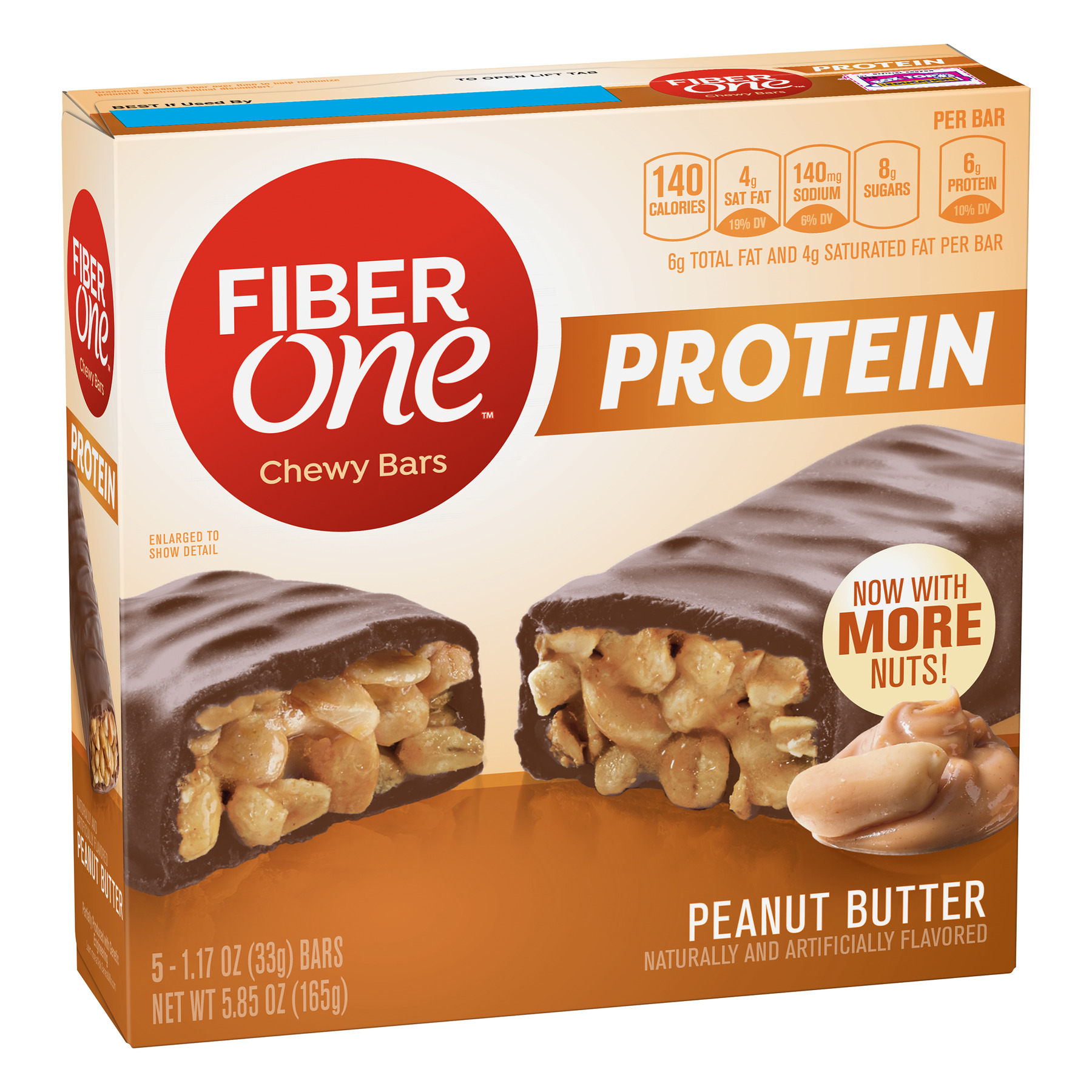 Fiber One Protein Chewy Bar, Peanut Butter, 6g Protein, 5 Ct