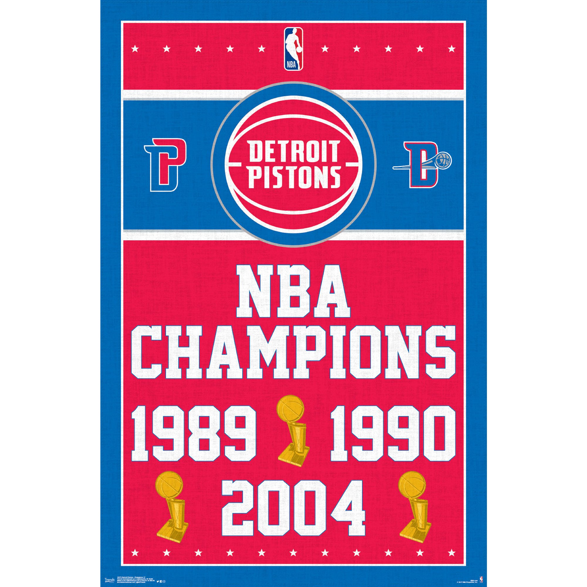 Detroit Pistons NBA Finals Champions 24.25'' x 35.75'' Framed Poster - No Size