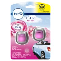 Febreze Car Odor-Eliminating Air Freshener Vent Clip, Downy April Fresh Scent, 2 Ct