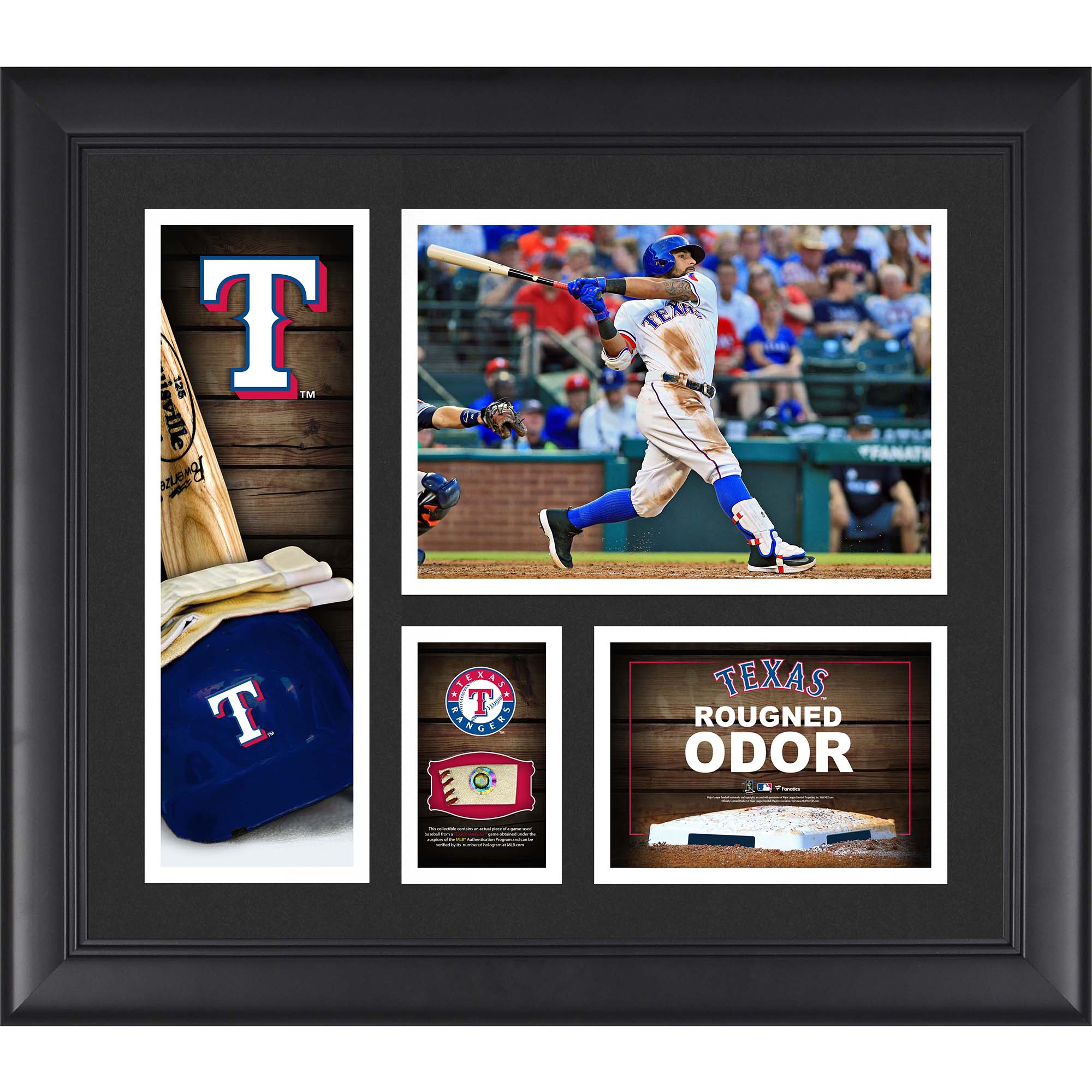 """Rougned Odor Texas Rangers Fanatics Authentic Framed 15"""" x 17"""" Player Collage with a Piece of Game-Used Ball - No Size"""