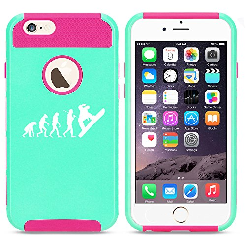 For Apple iPhone 7 Shockproof Impact Hard Soft Case Cover Evolution Snowboarder (Light Blue-Hot Pink)