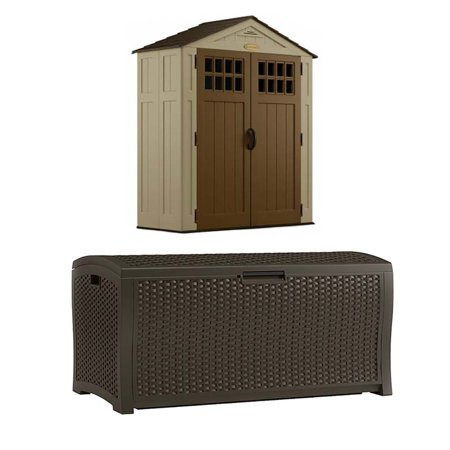 Suncast Sierra 6x3 Foot Outdoor Shed And Suncast 122 Gallon All