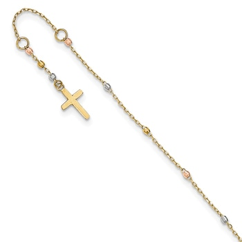 Brilliant Bijou 14k White Gold 1.2mm Solid D//C Spiga Chain Bracelet