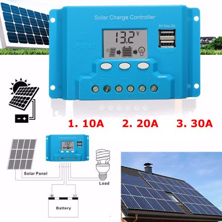10/20/30A LCD 12V/24V Solar Charge Controller Solar Panel Battery Regulator Safe Protection 2 USB 4-stage PWM - image 13 of 13