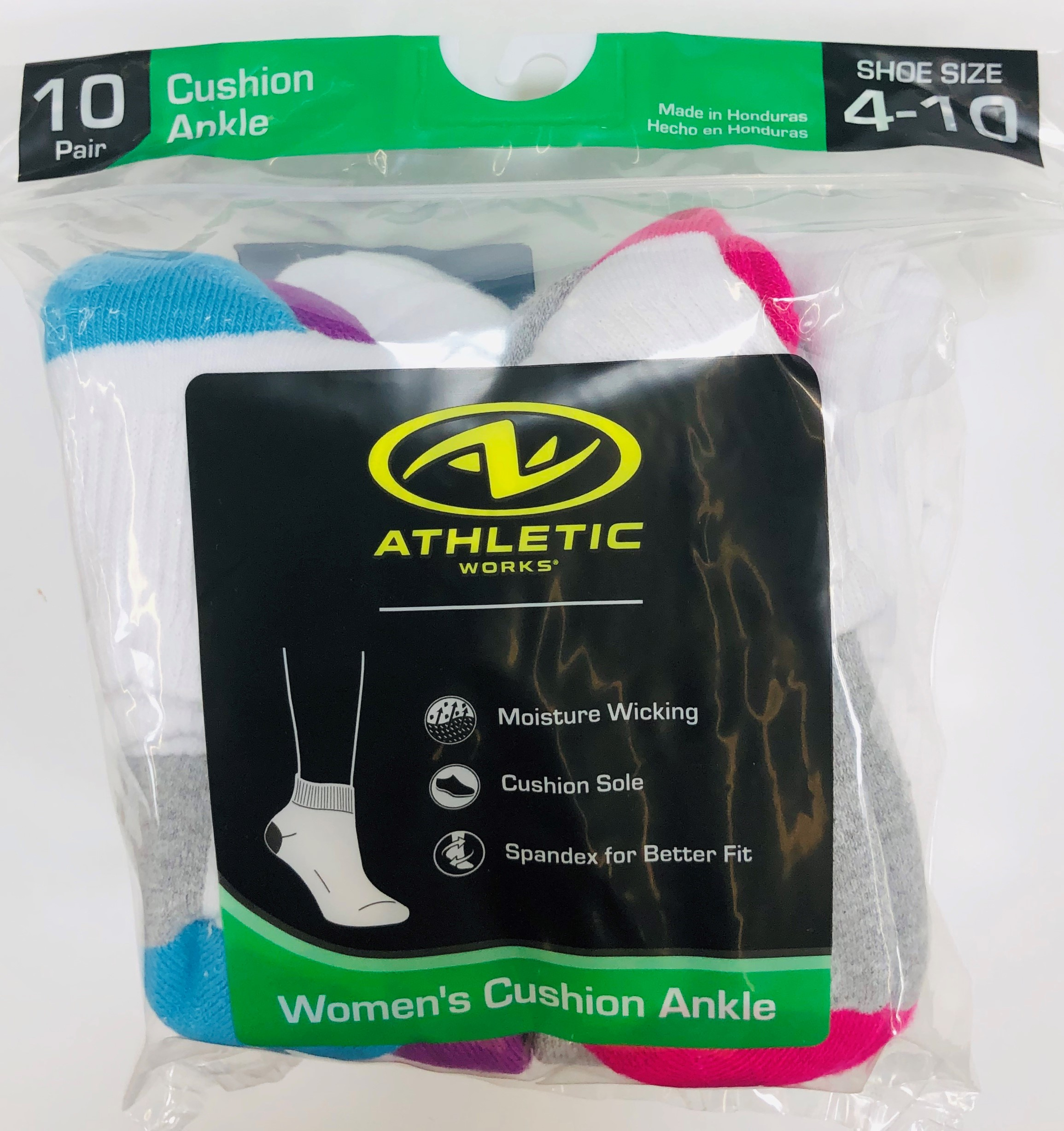 Athletic Works Women's Half Cushion Ankle Socks, 10 Pairs
