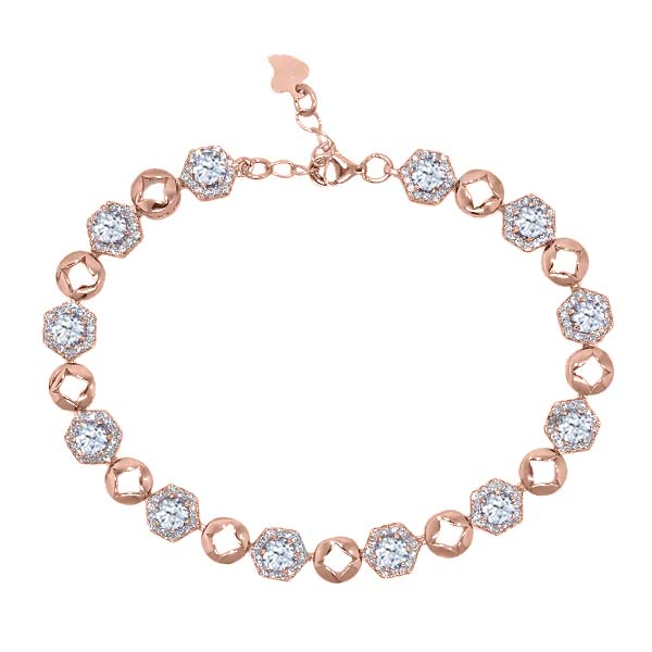 6.77 Ct Round White Topaz 18K Rose Gold Plated Silver Bracelet by