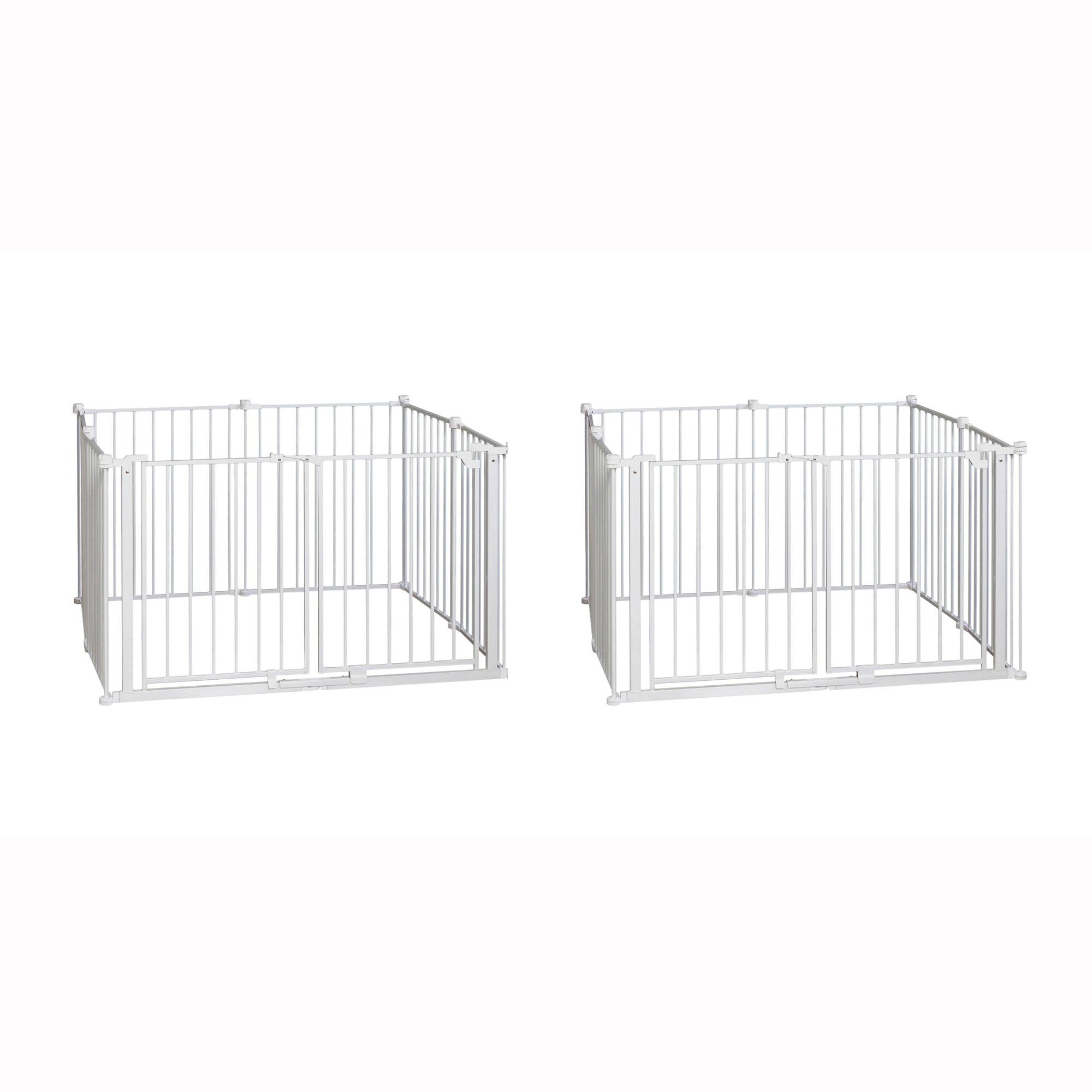 Regalo 8 Panel Metal Double Door Wide Baby Gate Play Yard White