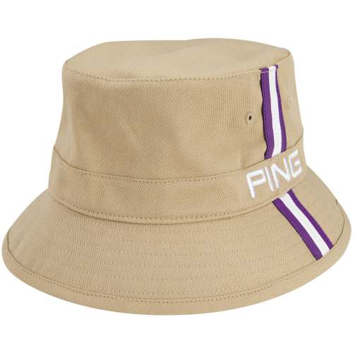Ping 2014 Bucket Hat (Khaki/Purple, S/M) Fitted Golf Cap NEW