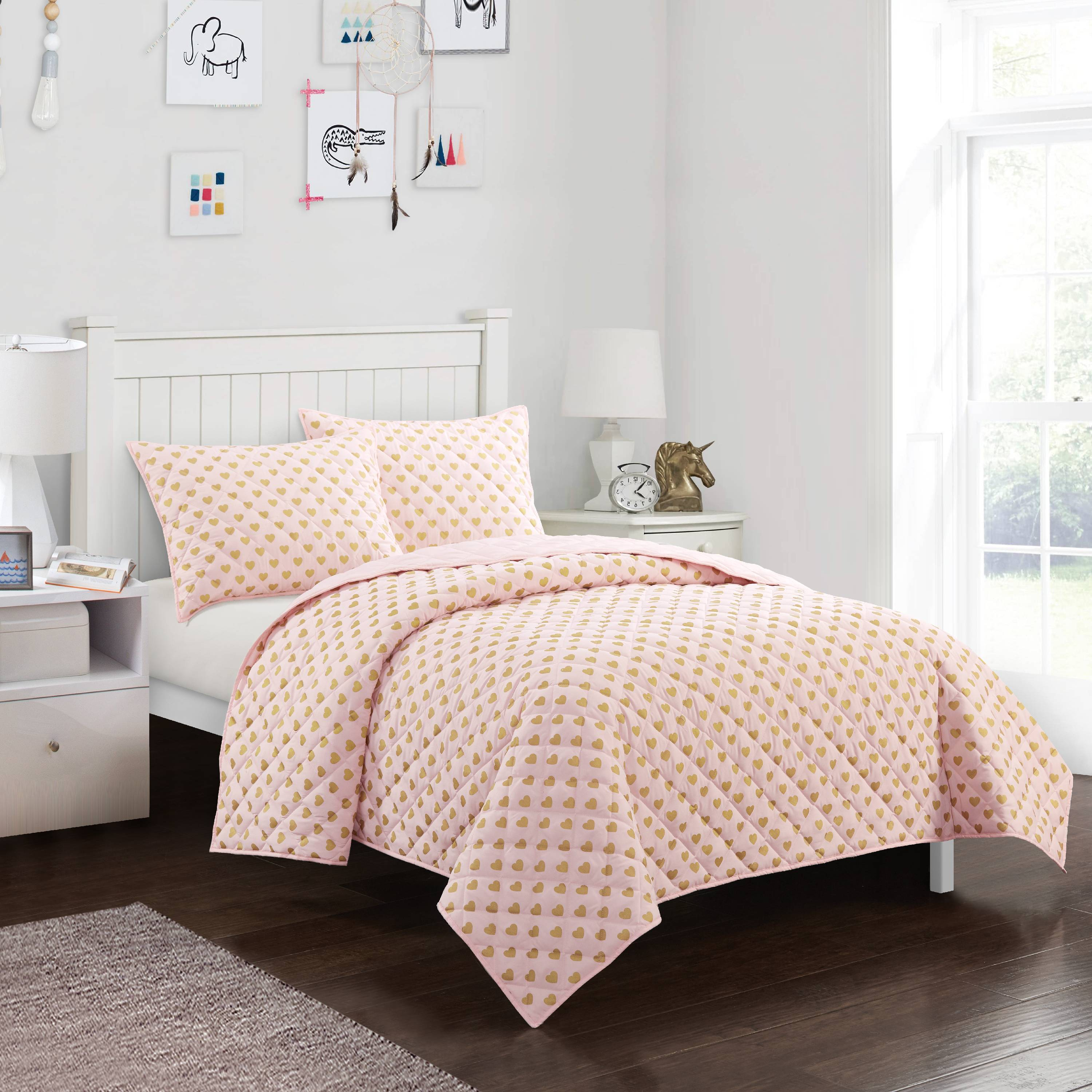 Mainstays Kids Metallic Heart Printed Quilt Set