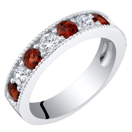 Sterling Silver Garnet Milgrain Half Eternity Ring Band Sizes 5 to -