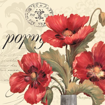 Red & White I Vintage French Postcard and Red Flowers; Floral Decor; One 18X18 Poster Print