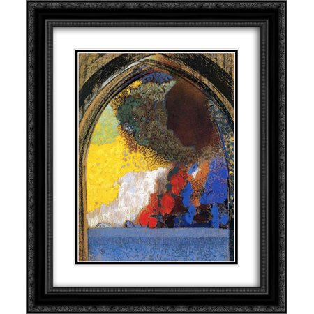 Odilon Redon 2x Matted 20x24 Black Ornate Framed Art Print 'Woman In Profile Under A Gothic