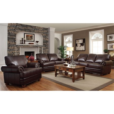 Coaster Colton 3 Piece Faux Leather Sofa Set with Rolled Arms in Brown
