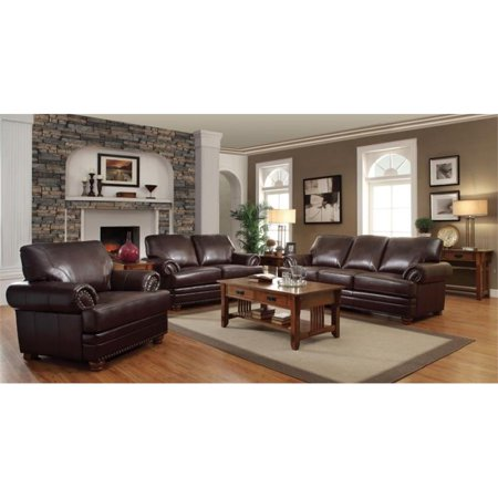 Coaster Colton 3 Piece Leather Sofa Set in Brown
