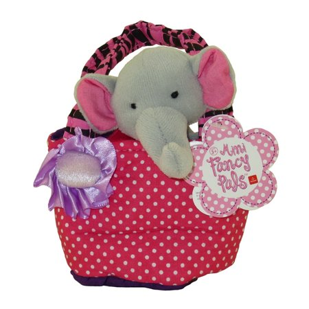 Pedia Pals Elly Elephant (Aurora World Plush - Mini Fancy Pals Pet Carrier - ELEPHANT in Pink Polka Dot Carrier (5 inch) )