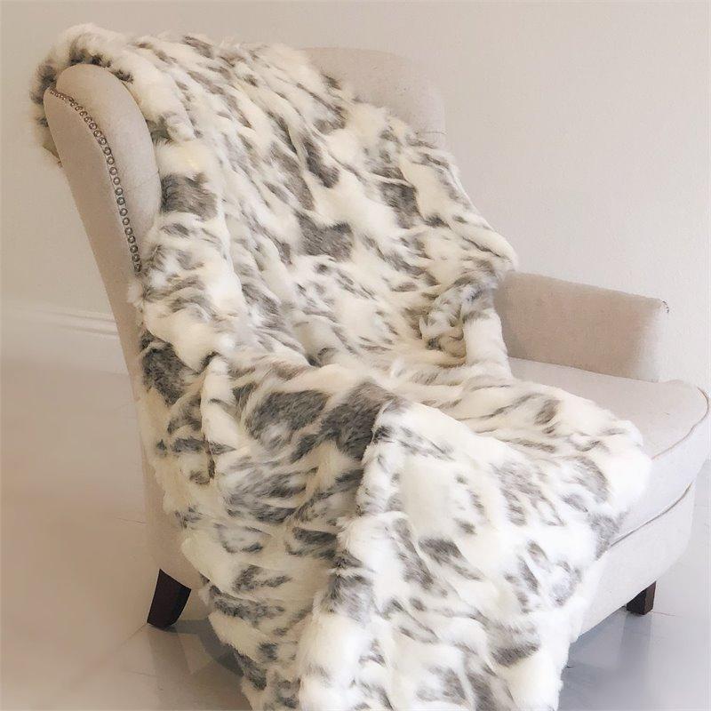 "Plutus Ivory Rabbit Faux Fur Handmade Luxury Throw 120""W x 114""L"