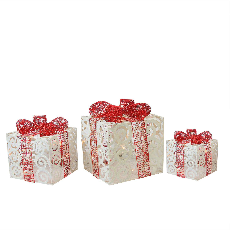 Set of 3 Lighted Sparkling White Swirl Glitter Gift Boxes Christmas Yard Art Decorations