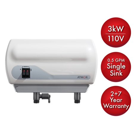 Atmor 3kW/110V Single Sink 0.5 GPM Electric Tankless Water Heater with Pressure Relief Device and 0.5 GPM